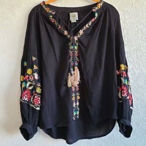 Anthropologie | Maeve Lanie Floral Embroidered Top
